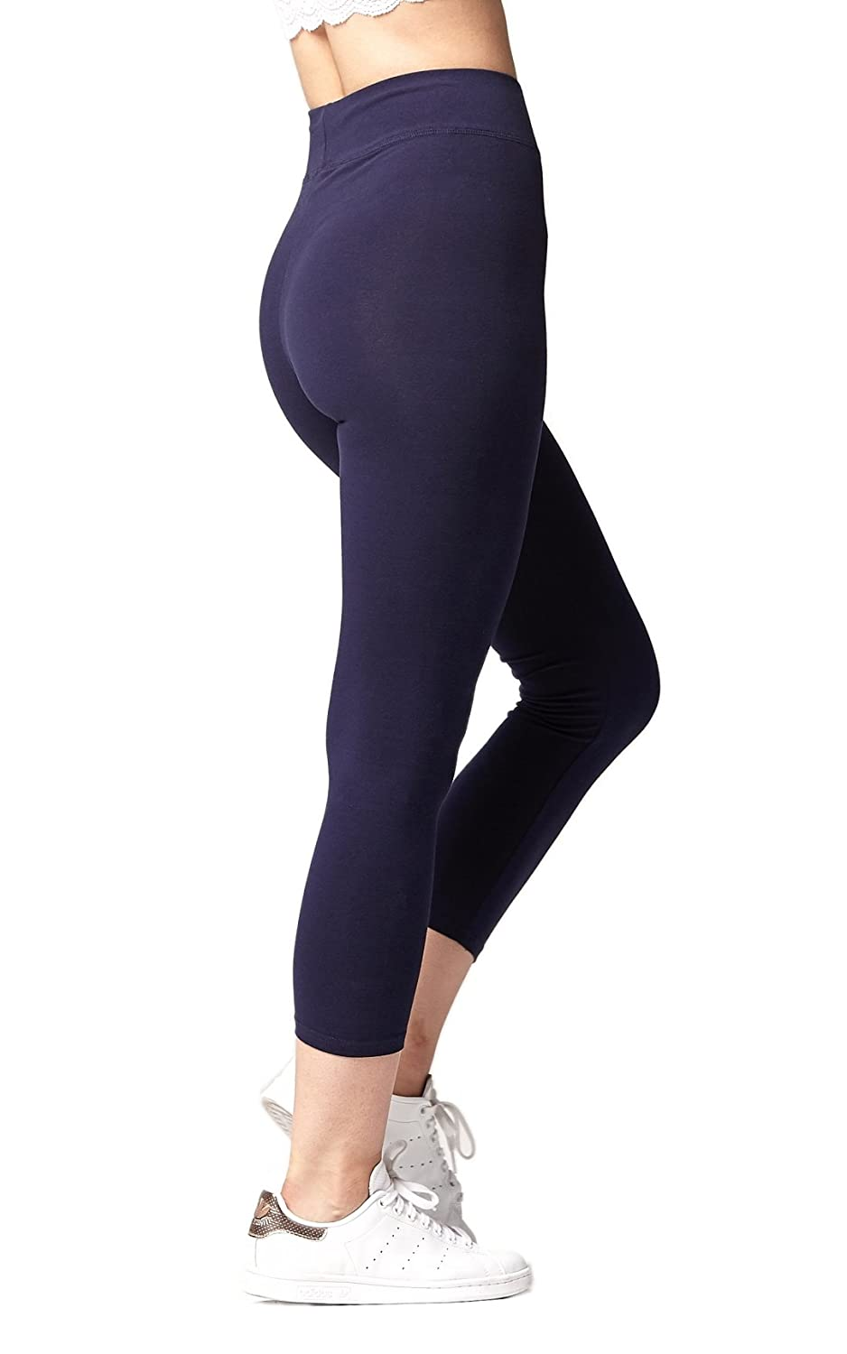 Premium Soft Cotton Spandex Jersey Leggings - High Yoga Waistband - Regular Plus Size - Capri and Full Length
