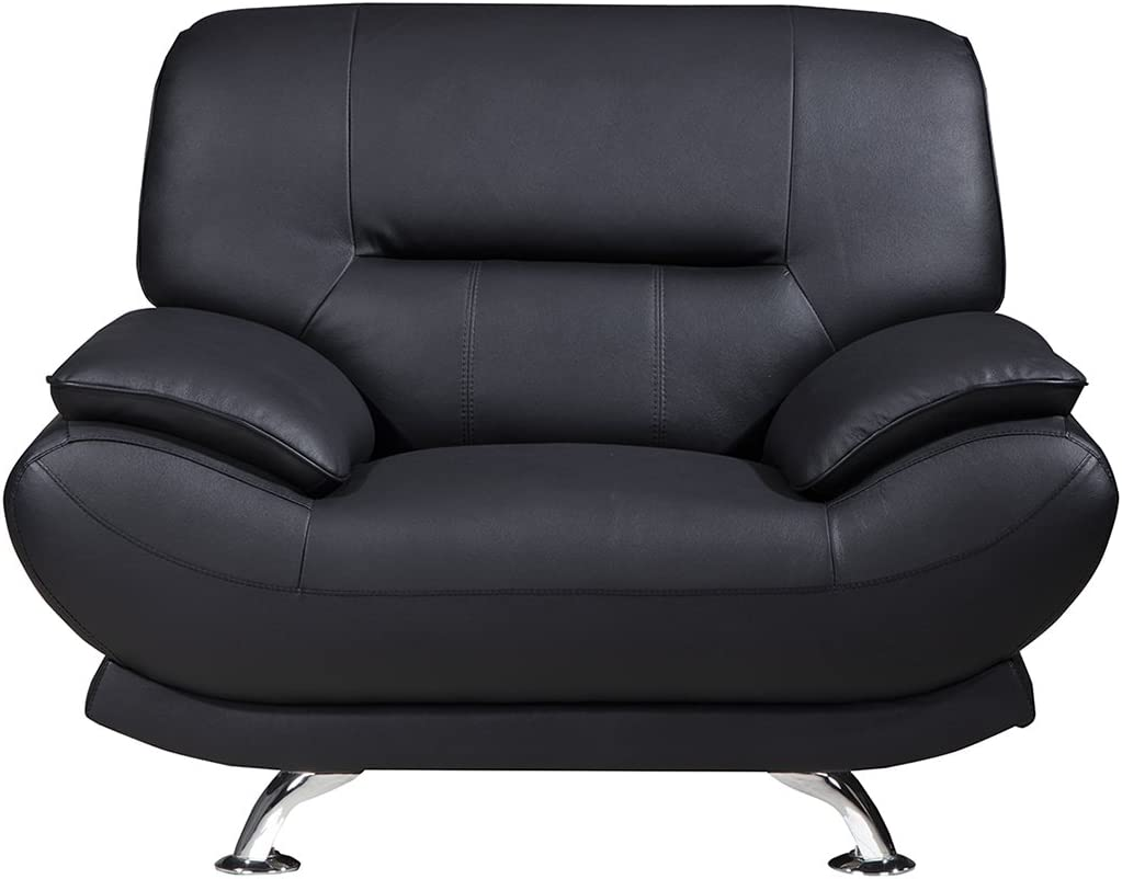 """American Eagle Furniture Arcadia Modern Leather Living Room Armchair with Pillow Top Armrests, 48"""", Black"""