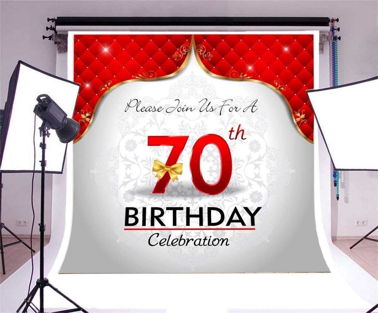 70th Birthday 6.5x6.5ft Polyester Photography Background Luxurious Red Lattice Velvet Curtain Red Number Seventy with Golden Bow Backdrop Old People Birthday Party Banner Studio Props