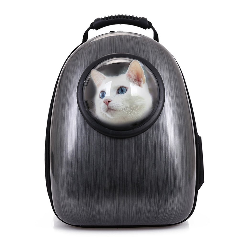 Pet Cat Bubble Backpack Dog Rolling Carrier Trolley Puppy Rucksack with Wheels (Medium-Hold Pets up to 14 lbs, Yellow) Petcomer