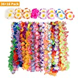 CWLAKON Hawaiian Luau Party Supplies-Hawaiian Leis(36Ct) with Hawaiian Flower Hair Clips(16pcs), Perfect for Your Hawaii Luaus