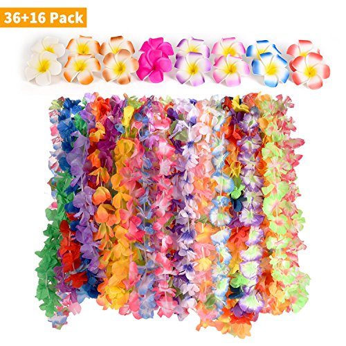 CWLAKON Hawaiian Luau Party Supplies-Hawaiian Leis(36Ct) with Hawaiian Flower Hair Clips(16pcs), Perfect for Your Hawaii Luaus ()