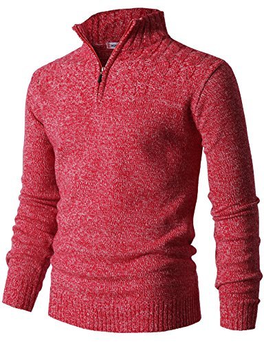 H2H Mens Casual Half Zip with Twisted Knitted Long Sleeve Pullover Sweater RED US 3XL/Asia 4XL (CMOSWL027) ()