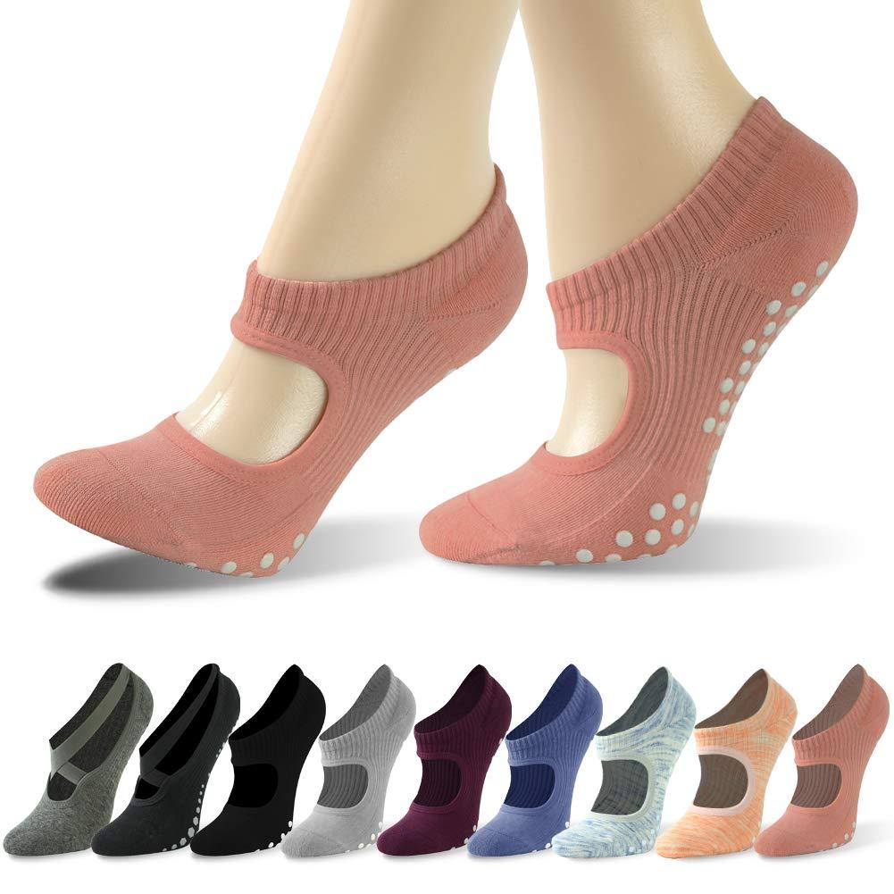 Gmark Pilates Yoga Socks, Womens Sticky Gripper Slipper Non Slip Grips Barre Socks with Ballet Slipper Straps(1Pair, Coral Powder, S) by Gmark