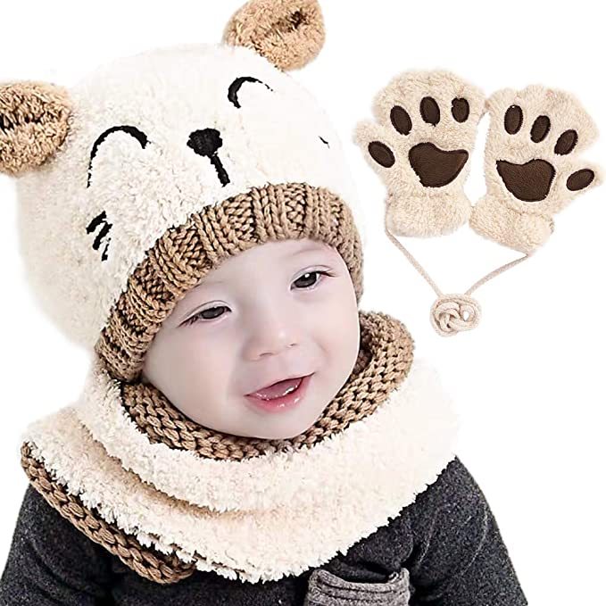 Cute Baby Toddler Winter Beanie Hat And Neckerchief Knitted Cap For Boy Girl UK