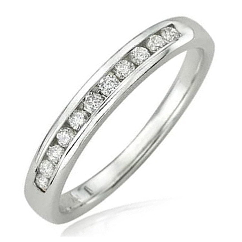 0.20 Carat (ctw) 14K White Gold Round Diamond Anniversary Wedding Band Stackable Ring 1/5 CT