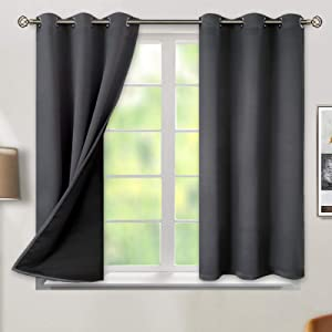 BGment Thermal Insulated 100% Blackout Curtains for Bedroom with Black Liner, Double Layer Full Room Darkening Noise Reducing Grommet Curtain ( 42 x 54 Inch, Dark Grey, 2 Panels )