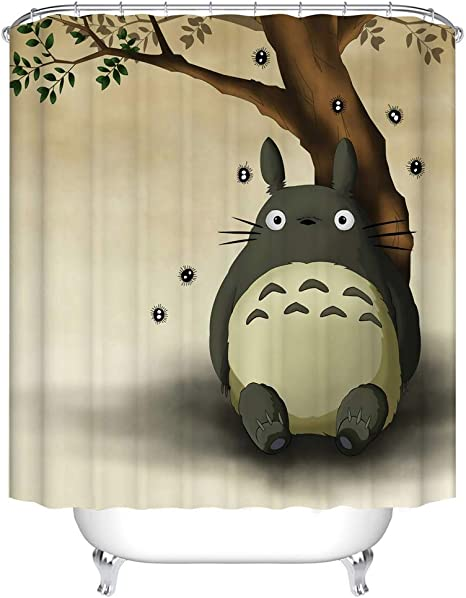 bartori home decor shower curtain hooks inside my neighbor totoro theme a very cute totoro site under the tree with brown background waterproof