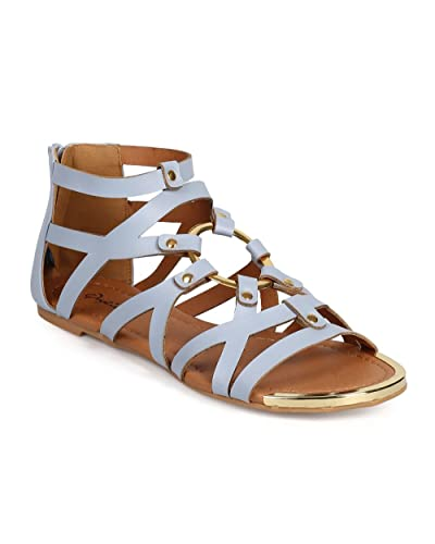a53234b7a1c Qupid Women Leatherette Gold Tip Open Toe Ring Strap Studded Gladiator  Sandal DH82 - Ash Blue
