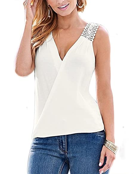 2075d54858285 FOURSTEEDS Women Sexy V Neck Backless Camisole Chiffon Lace Tank Tops Solid  Summer Sleeveless Shirt White