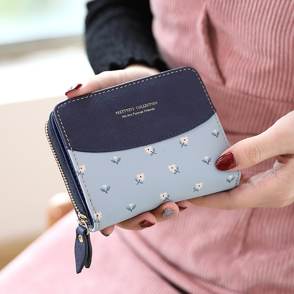 Womens RFID Blocking PU Leather Short Wallet Large Capacity Card Holder Coin Pouch Ladies Girls Purse (#2 Floral Blue)