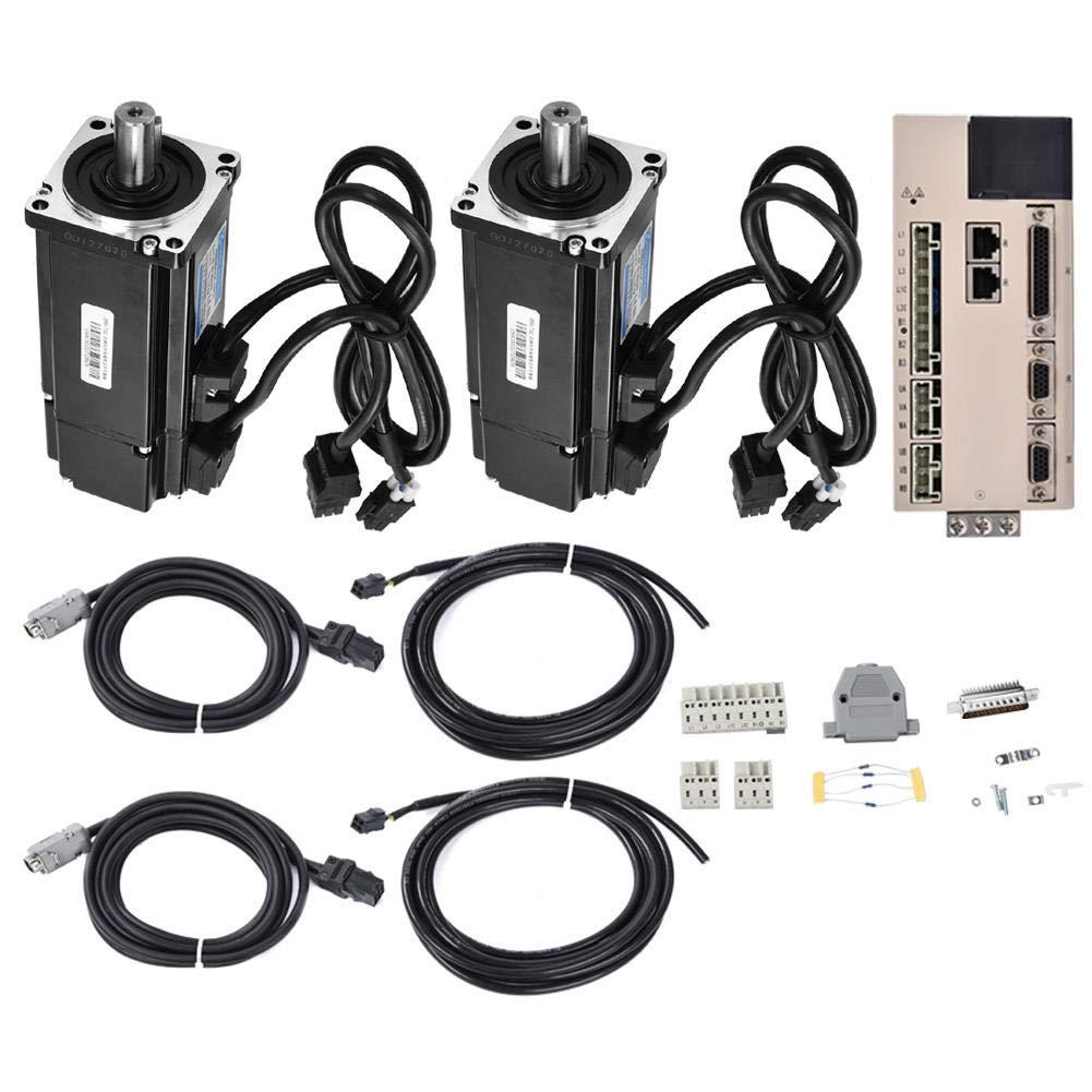 Servo Drive Motor Kit, 2pcs Servo Motor 400W 1.27NM AC220V 3000RPM with 1pc Driver by Taidda