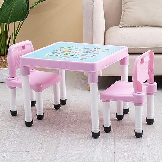 1 Mesa 2 Sillas] Juego De Mesa Y Silla para NiñOs De Color Rosa - PláStico para Aprender/Juegos/Mesa para Comer - Taburete del Respaldo: Amazon.es: Hogar