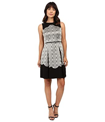163ab9fc6158 Tahari by ASL Women's Metallic Sleeveless Fit and Flare With Scallop Detail  Black/Gold/Silver Dress 10 at Amazon Women's Clothing store: