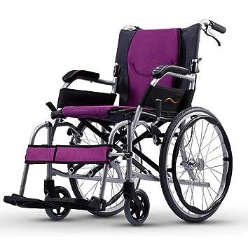 GJX Silla de Ruedas Plegable Portable Ultraligera, Vespa lisiado de la aleación de Aluminio para los Ancianos, Viaje y Silla de Ruedas Manual 14 Pulgadas: ...