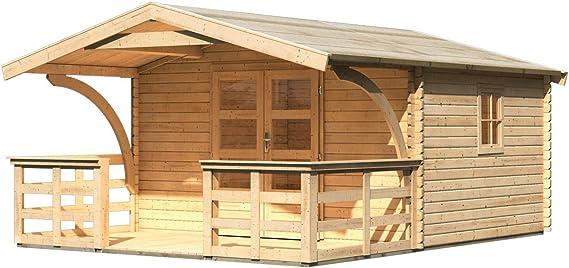 Casa de jardín Drau 5 con toldo 1,80 m de profundidad y terraza, natural, 38 mm de grosor de pared – 3,87 x 4,76 x 2,42 m (ancho x profundidad x alto): Amazon.es: Bricolaje y herramientas