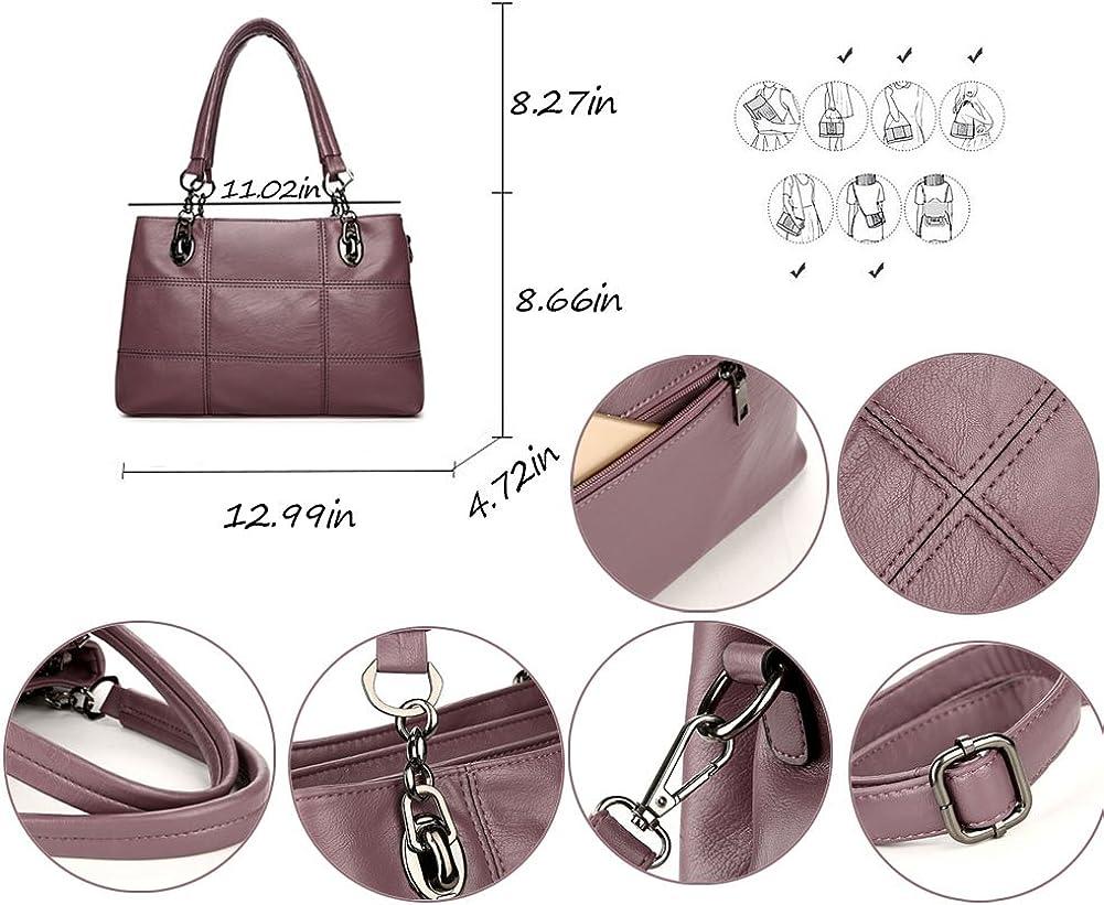 Voudi Genuine Leather Handbags for Women Top Handle Satchel Handbag Tote Shoulder Bag Purse Crossbody Bag