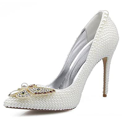 ebcafdc4d87 Wedding shoes Women s Leather Pointed Pearl Butterfly Fancy Color Diamonds  Hand Made Pump Bridesmaids Banquet White