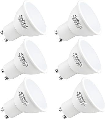 Kakanuo GU10 LED 6W Equivalente a bombilla halógena 50W Luz blanca cálida 3000K 500 lúmenes, 120 ° Ángulo de haz no regulable AC85-265V (paquete de 6): Amazon.es: Iluminación