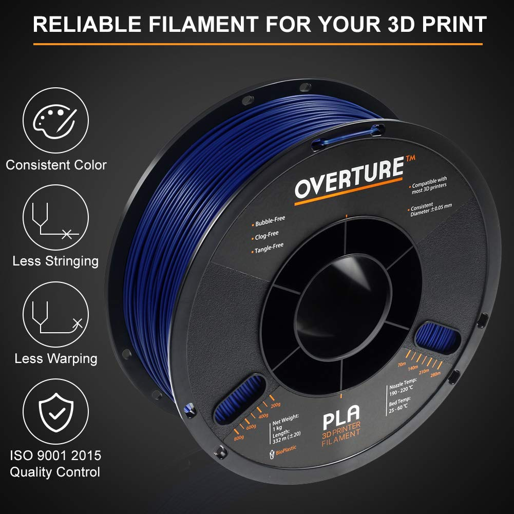 Dimensional Accuracy +//- 0.05 mm Space Gray OVERTURE PLA Filament 1.75mm with 3D Build Surface 200mm /× 200mm Light Gray 2kg PLA Multipack Fit Most FDM Printer 2.2lbs// Spool 2-Pack