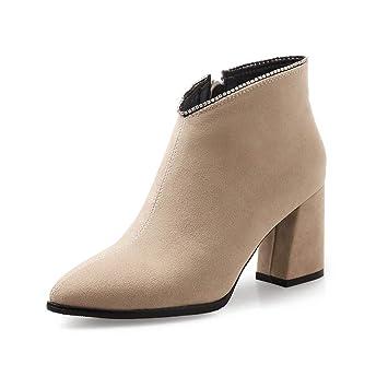 HEmei Botines para Mujer, tacón Grueso Tacones Altos Botines Chelsea Damas de algodón Cómodo Tacón Grueso Botas de Moda (Color : UN, tamaño : 36): ...