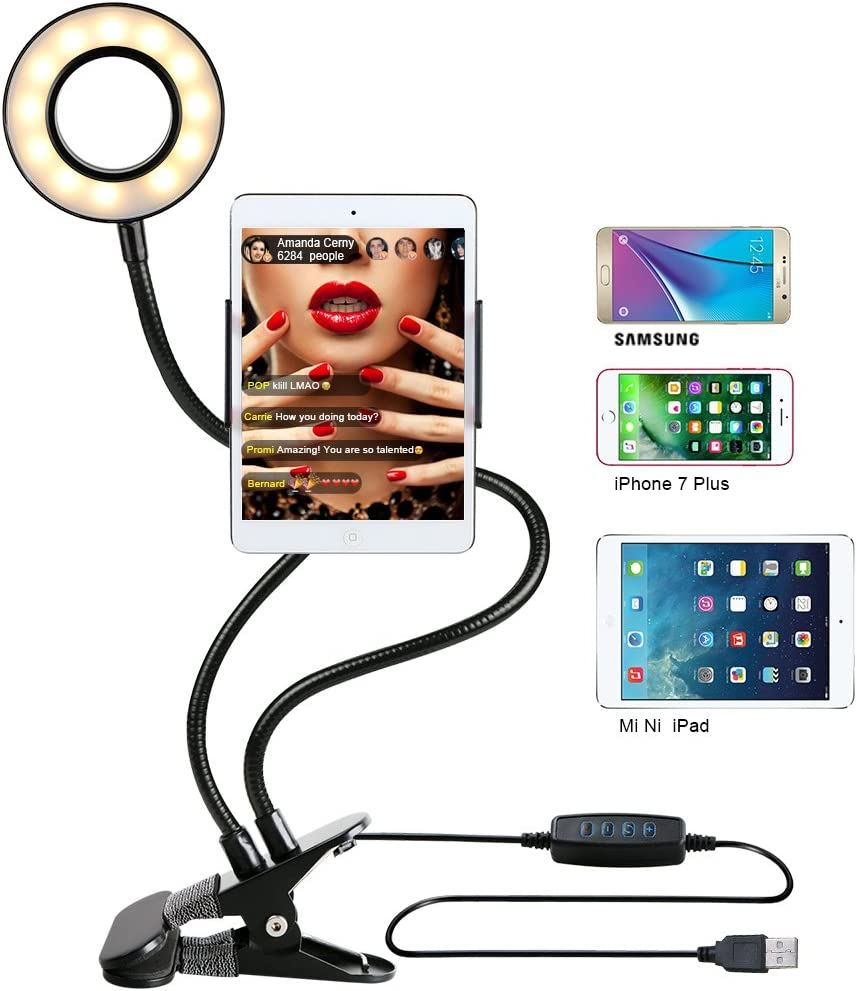 HULYZLB Fill LightSelfie Ring Light Stand with 3 Cell Phone Holder /& Microphone Holder for Live Stream//Makeup//YouTube Video Beauty Fill Light