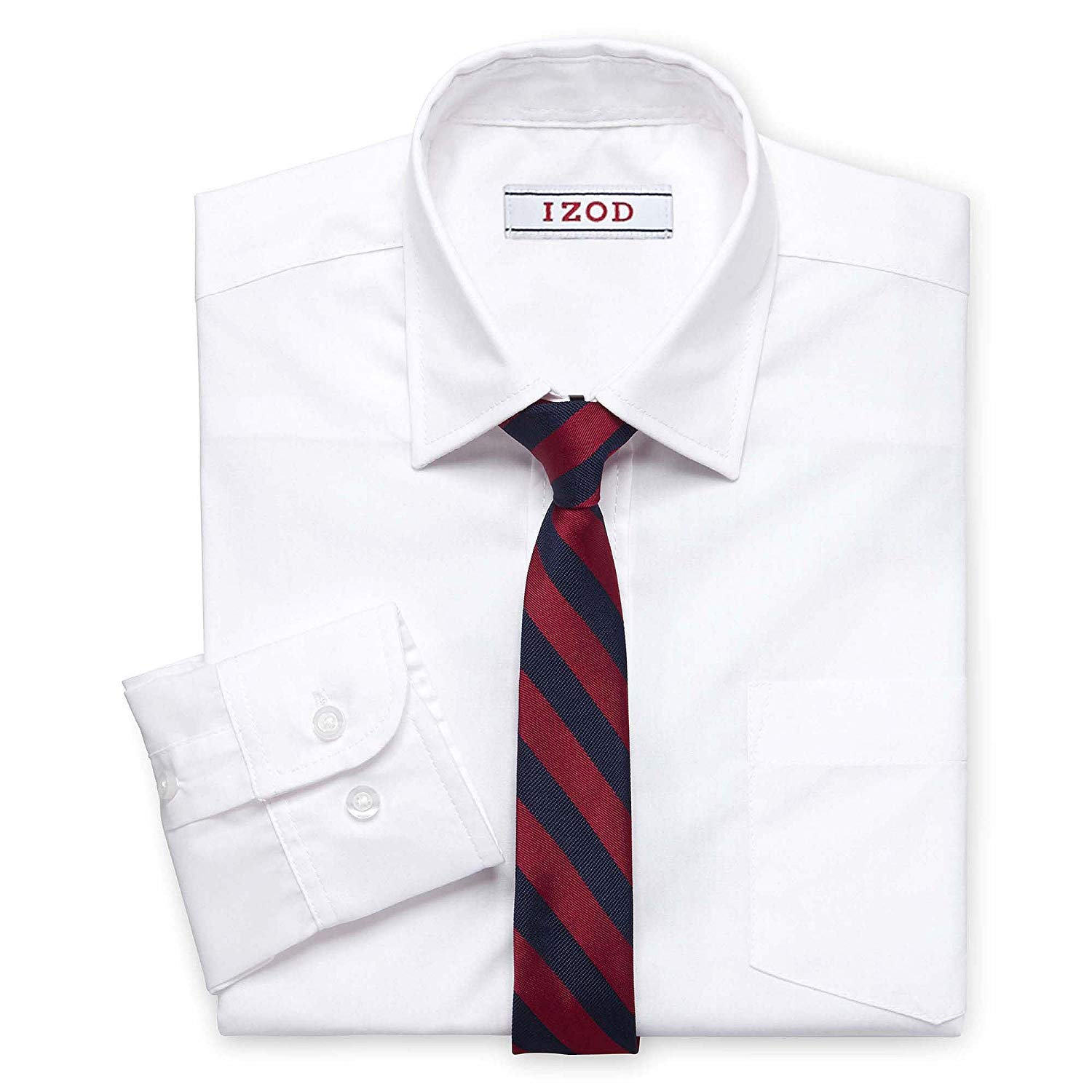 IZOD Boys' Long Sleeve Solid Shirt and Tie Set (White 2, 18)