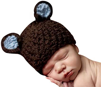 Melondipity Boys Organic Brown & Blue Chunky Sugar Bear Crochet Beanie Baby  Hat