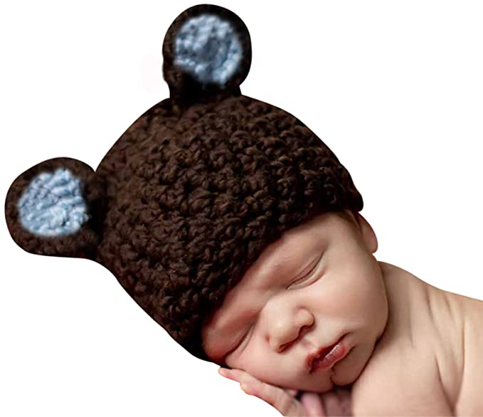 Melondipity Organic Brown Chunky Sugar Bear Baby Boy Hat Soft Handmade  Premium Quality Crochet Beanie ( e1da78b6206b