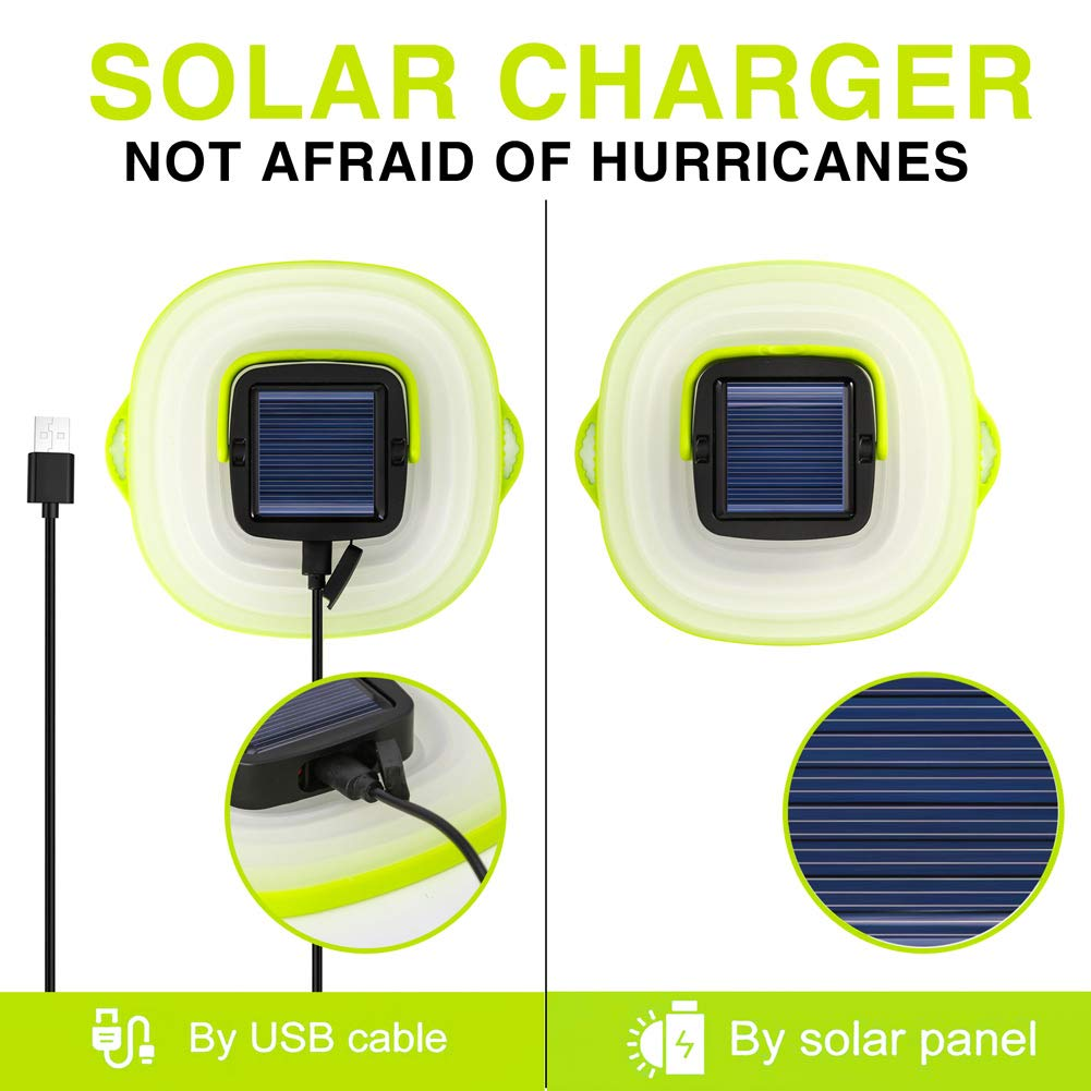 Tabletop Lantern Rechargeable Emergency Light Collapsible Flashlight Solar or USB Chargeable for Outdoor Hiking Tent Garden Solar Portable Led Camping Lantern Lights Outdoor