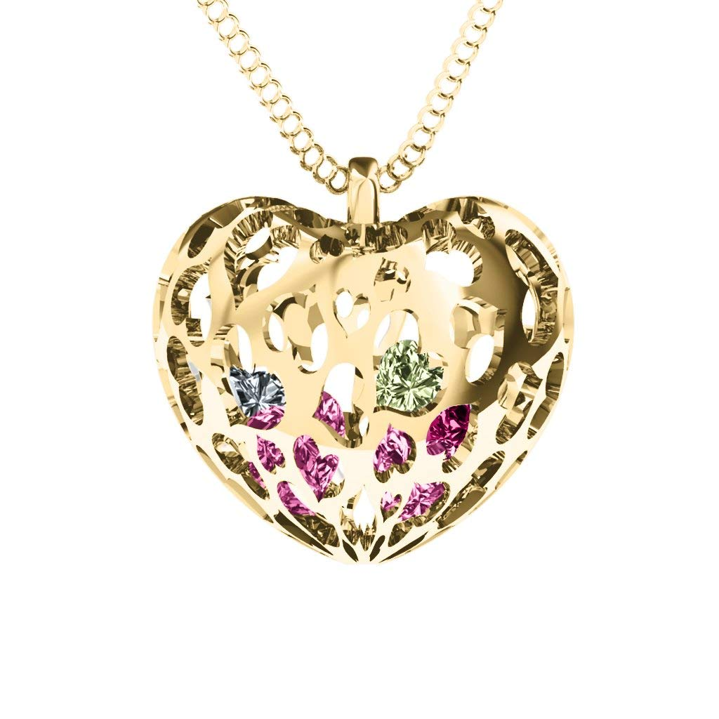 10K Gold Caged Hearts Pendant with Personalized Birthstones by JEWLR