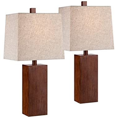 Darryl Wood Finish Rectangular Table Lamps Set of 2