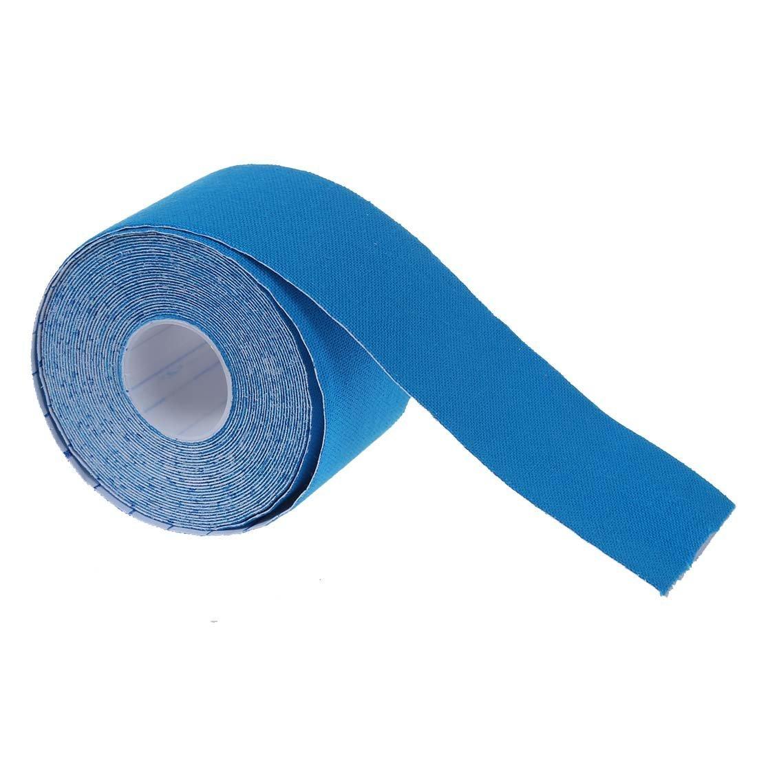 SODIAL(R) Cinta Adhesiva 1 Rollo para Musculos Deporte Kinesiologia Atletico Salud 5M * 5CM - Azul
