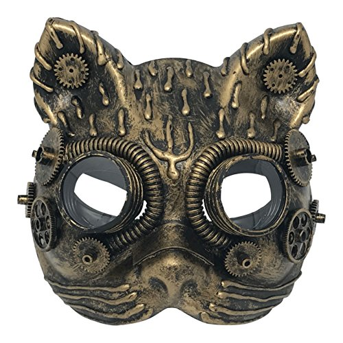 Steampunk Costume Cat Mask Vintage Copper Goggles & Gears Victorian Gothic Accessories]()