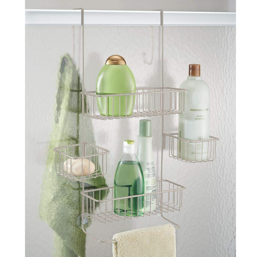 InterDesign Metalo Adjustable Over Door Shower Caddy – Bathroom Storage Shelves for Shampoo, Conditioner and Soap, Satin by InterDesign (Image #3)