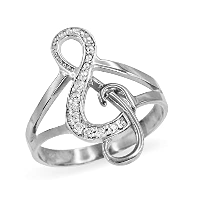 Amazon Com Treble G Clef Music Note Diamond Ring In Polished 10k