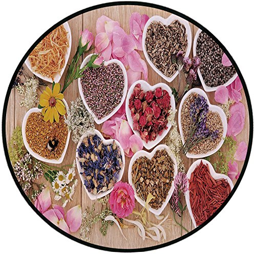 - Printing Round Rug,Floral,Healing Herbs Heart Shaped Bowls Flower Petals on Wooden Planks Print Healthcare Decorative Mat Non-Slip Soft Entrance Mat Door Floor Rug Area Rug For Chair Living Room,Multi