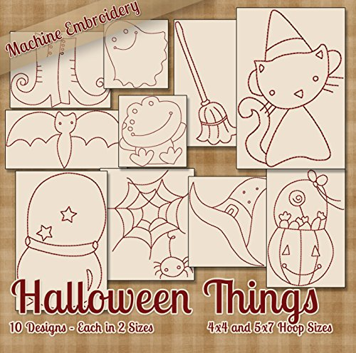 Cute Halloween Embroidery Designs (Halloween Things Redwork Embroidery Machine Designs on CD - 10 Cute Holiday Patterns - 2 Sizes Each - PES JEF EXP XXX VIP HUS DST)