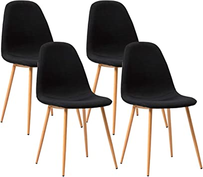 Mecor Modern Dining Chairs Set of 4, Kitchen Chairs with Fabric  Cushion/Wood Legs, Mid-Century Side Chairs, Black
