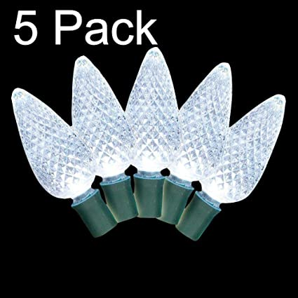 c7 cool white led christmas light 25 diamond cut premium lights 5 pack