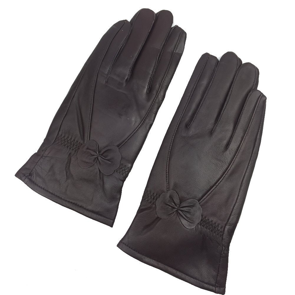 Sandy Ting Simple Sytle Women Winter Warm Lambskin Driving Leather Gloves (Large, Brown)