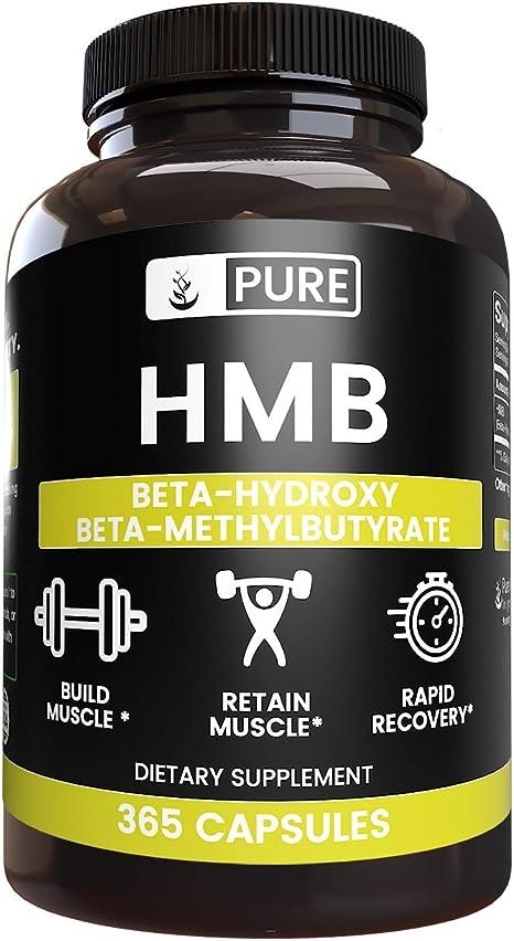 HMB Powder (365 Capsules) 100% Pure, Non-GMO & Gluten-Free, Potent & Powerful (945 mg Serving)