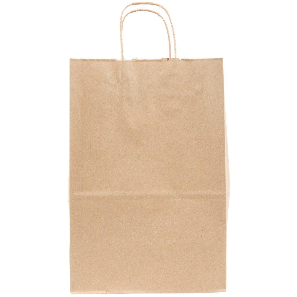 Duro Kary 9'' x 5 3/4'' x 13 1/2'' Brown Shopping Bag with Handles - 250/Bundle