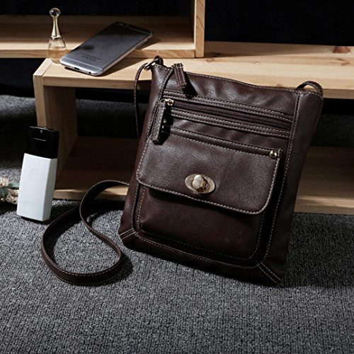 Coffee Shoulder Bag Bag Shoulder Satchel Cross Body PLOT Leather Messenger Messenger Womens PP5r4ax