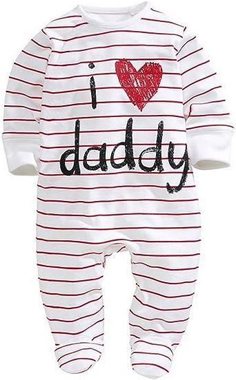 PYL Mono de bebé Unisex-Baby recién Nacido Pijamas de algodón Mono para bebé I Love Mummy I Love Daddy Bodysuit