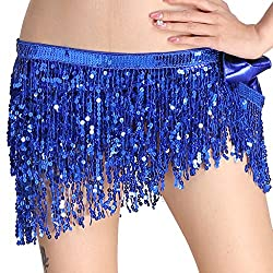 Belly Dance Hip Scarf Performance Outfit Blue Skirt