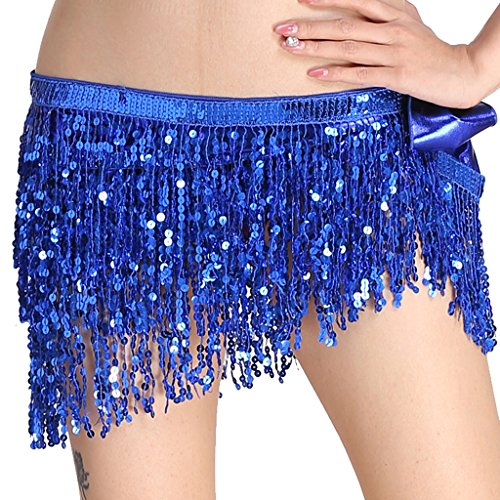 MUNAFIE Women's Belly Dance Hip Scarf Performance Outfits Skirt Festival Clothing Royal Blue