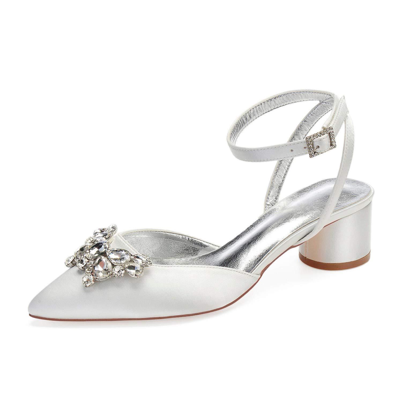 Zxstz Chaussures pour Eté Femmes Satin Printemps Eté pour Confort Mariage Chaussures à Bout Pointu Bow Strass Escarpins Chaussures Habillées 36|Ivory 66c46b
