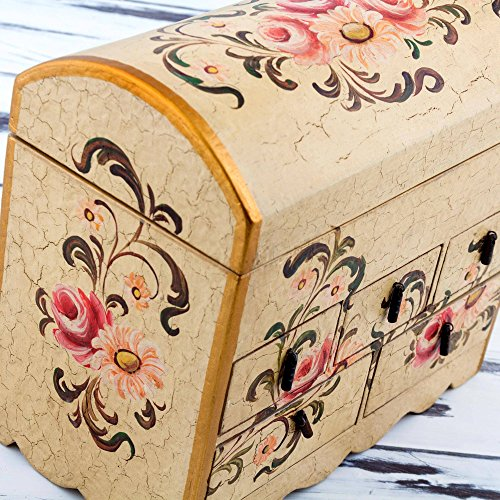 NOVICA Handcrafted White and Pink Mini Chest of Drawers Floral Wood Jewelry Box, Rose Bouquet' by NOVICA (Image #3)