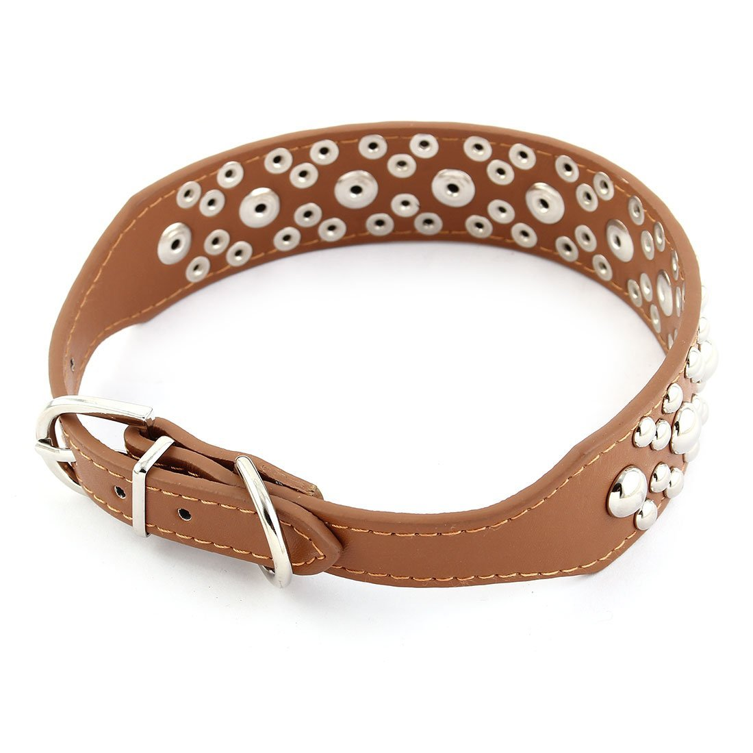 Amazon.com : DealMux metal fivela único pino Faux Leather Rivet Decoração Pet Dog Correia de pescoço Collar M Brown : Pet Supplies